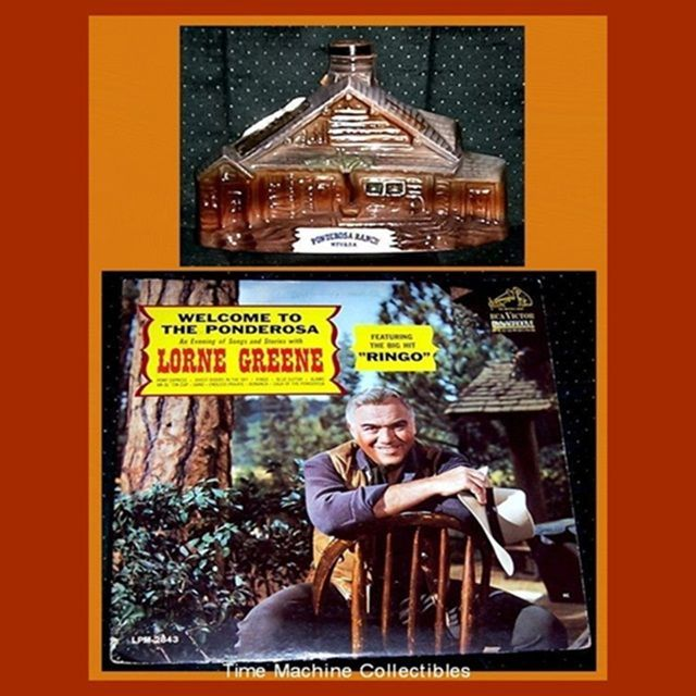 1969 Ponderosa Ranch Jim Beam Bottle & Welcome To The Ponderosa Record Album with Lorne Greene