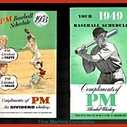 1949 & 1953 Baseball Schedules by PM Blended Whiskey