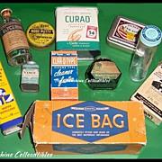 11 Vintage Drug Store Tins & Bottles