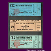 1952 Garry Moore, 1952 Perry Como, and 1961 Jack Paar Show Tickets