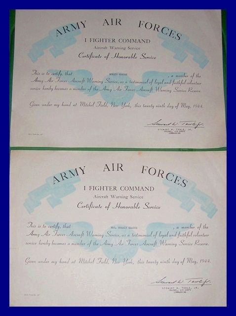 1944 Army Air Forces Certificate of Honorable Service