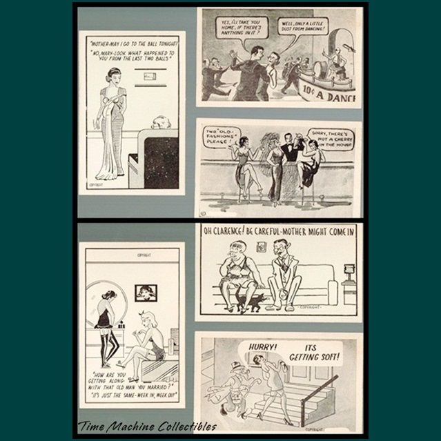 Six 1930's/1940's Comic Risqué Postcards