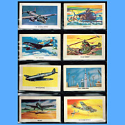 Eight 1959 Red Sicle Ball Aircraft Trading Cards, Set Two
