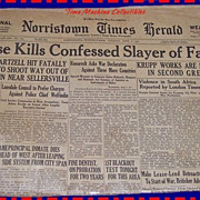 "1942 Norristown Times Herald Paper, ""We Must Win The War For America"""