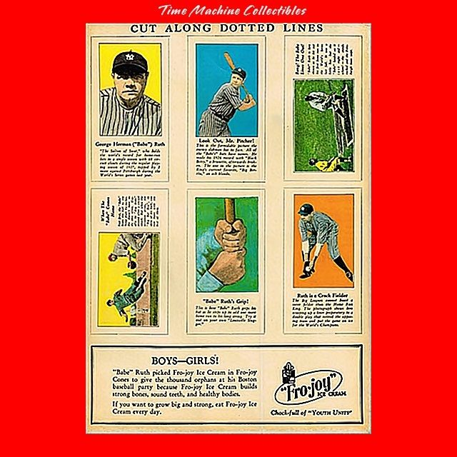 Six Re-issued of 1928 Fro-joy Ice Cream Babe Ruth Baseball Cards