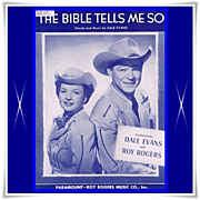 "1950 Roy Rogers and Dale Evans ""The Bible Tells Me So"" Sheet Music - Red Tag Sale Item"