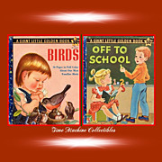 Two 1958 A Giant Little Golden Books--Off To School & Birds--First Editions