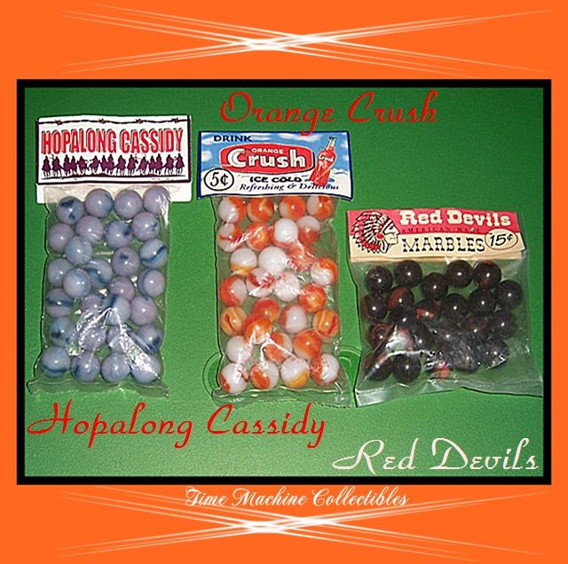 Hopalong Cassidy, Orange Crush, and Red Devils Marbles