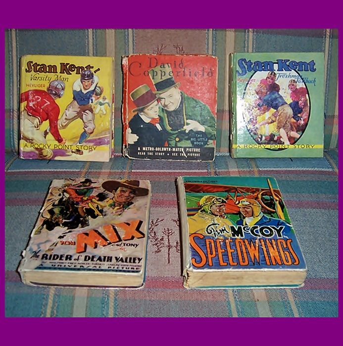 Six 1930's Saalfield & Whitman Big Little Books, Tom Mix, Tim McCoy, The Little Minister