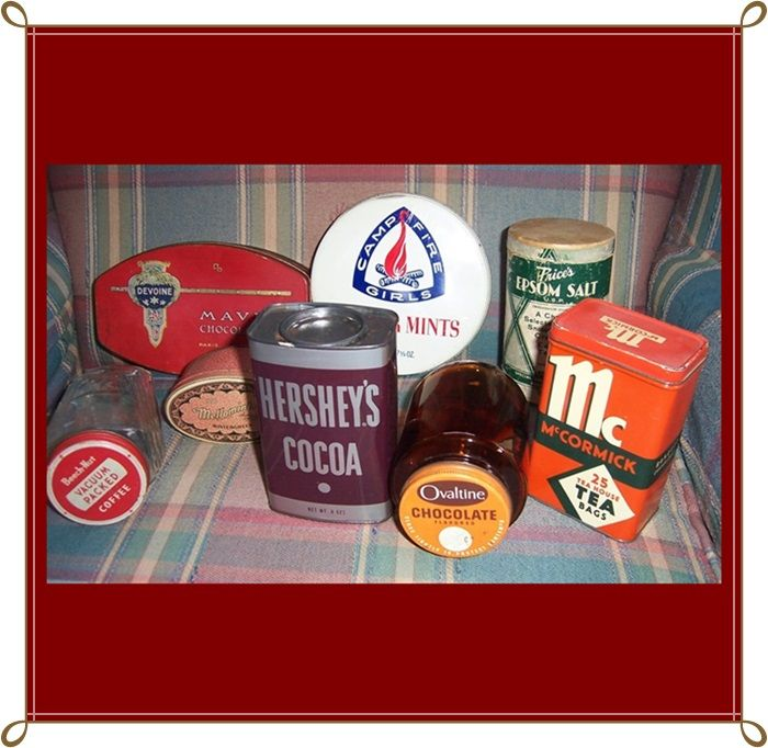 8 Vintage Grocery Store Tins and Bottles, 1930's-70's
