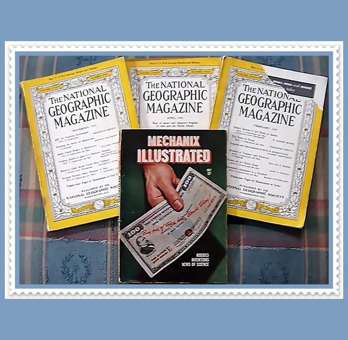 WWII Era 1942/44/45 National Geographic and Mechanix Illustrated Magazines