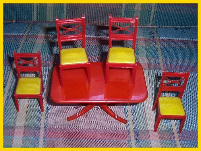 Renwal Plastic Red Dining Room Table & Four Red & Yellow Chairs