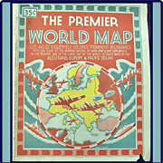 Large 1943 WWII Premier World Map