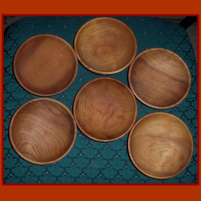 Six Occupied Japan Wood Salad or Snack Bowls