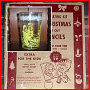 Vintage 1950's Christmas Stencils and 1953 Yellow Howdy Doody Glass