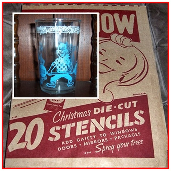 Vintage 1950's Christmas Stencils and 1953 Blue Howdy Doody Glass