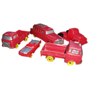 Five Auburn Rubber Toy Cars and Trucks