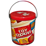 Vintage 1950's Sunshine Toy Cookies Cardboard & Tin Pail & Metal Handle