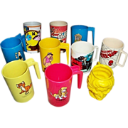 Ten 1970's-1980's Plastic Children's Character Cups & Mugs
