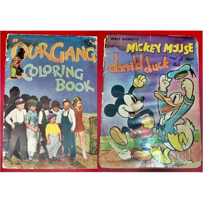 1933 Our Gang & 1937 Disney's Mickey Mouse, Donald Duck & Pals Coloring Books
