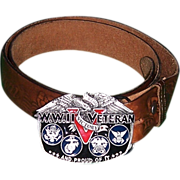 WWII Veteran V.E.--V.J.Day Victory Belt Buckle & Leather Belt