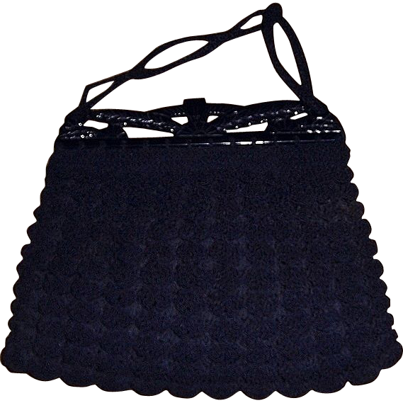 1930's-40's Navy Blue Crocheted Handbag with Plastic or Bakelite Opening