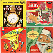 Seven 1950's-1960's Kiddie Records, Space Songs, Tubby Tuba, How To Tell Time, Mother Goose Songs - Red Tag Sale Item