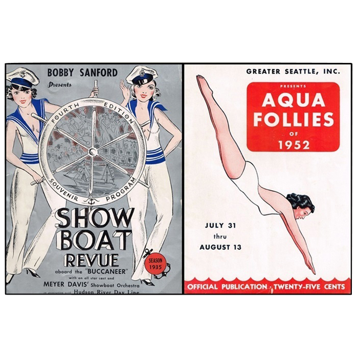 Aqua Follies of 1952 & Season 1935 Show Boat Revue Souvenir Programs