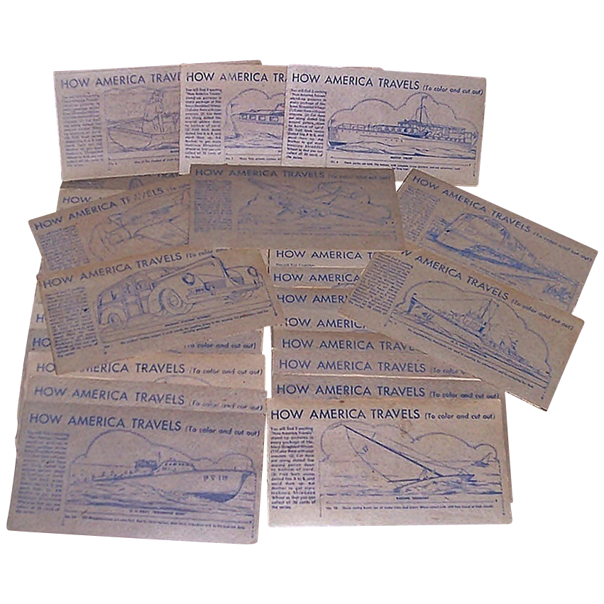 1950 Shredded Wheat How America Travels Cereal Premium, 31 Cards