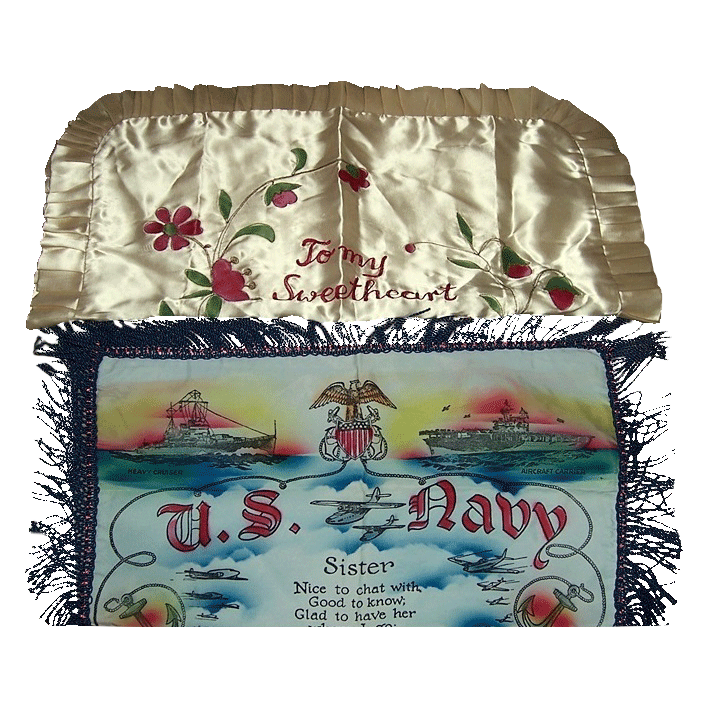 Two Beautiful WWII Era Pillow Cases