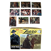 1958 Zorro Puzzle and Nine 1958 Zorro Topps Trading Cards