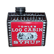 1979 Vintage Towle's Log Cabin Syrup Metal Tin Bank