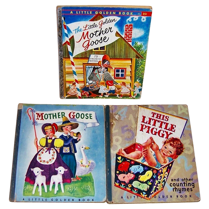 1944/45/57 Mother Goose and My Little Piggy Little Golden Books