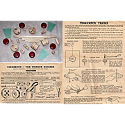 1940/1941 Tinkertoys with Tinkertoy Wonder Builder & Tricks Pamphlets