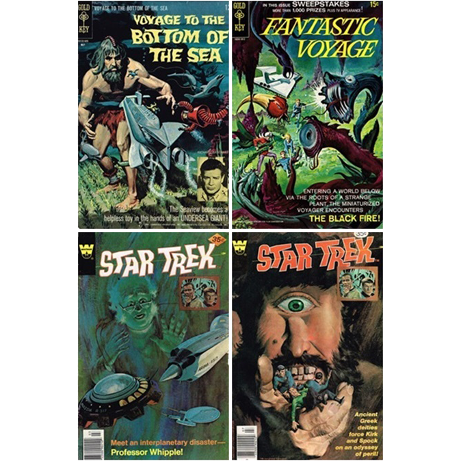 Four Sci-fi Comics, 1966 Voyage To The Bottom Of The Sea, No. 4, 1969 Fantastic Voyage, No. 2, & Two Star Trek Comics, 1978, Nos. 51 & 53