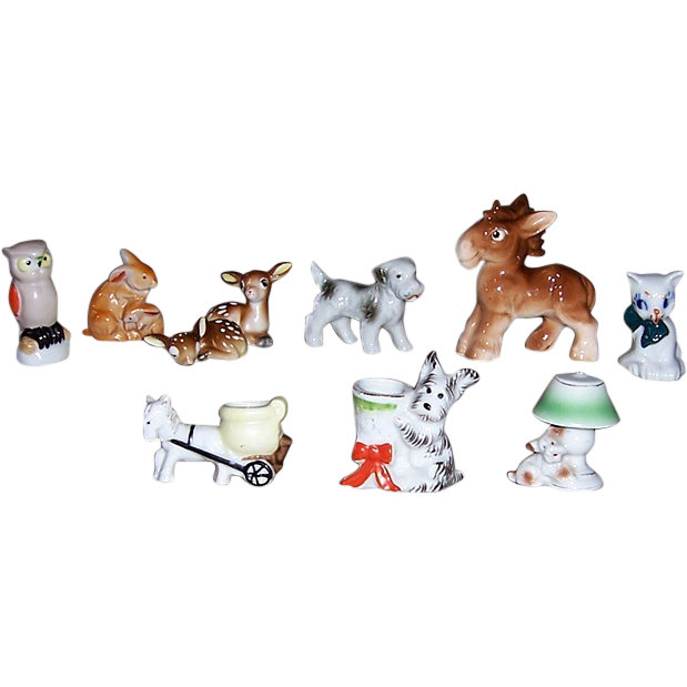 Adorable Occupied Japan Animal Figurines, Dogs, Bunnies, Cat, Deer, Horse
