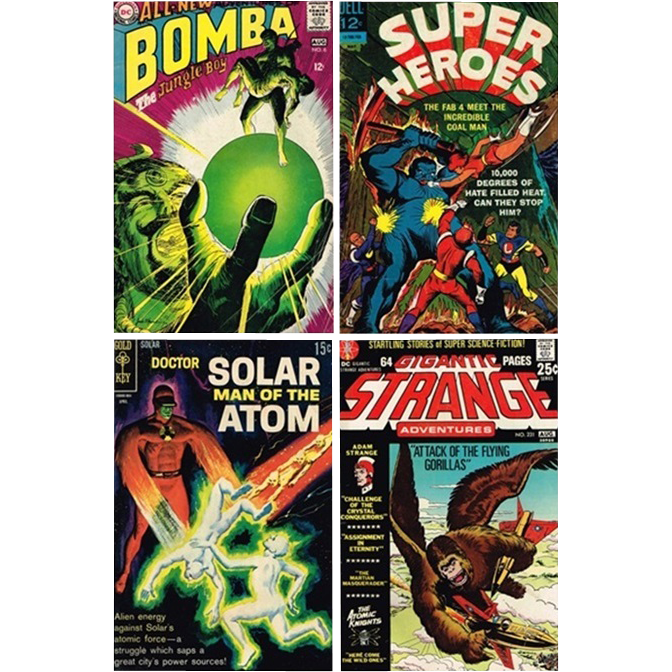 1967 Super Heroes Comic, No. 3, 1968 Bomba Comic, No. 6, 1969 Doctor Solar Comic, No. 27, & 1971 Strange Adventures Comic, No. 231