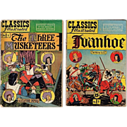 No. 1 & No. 2 The Three Musketeers & Ivanhoe Classic Illustrated Comic Books