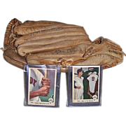 Ted Williams 1960 Baseball Glove with Facsimile Signature & Two 1959 Fleer Baseball Cards