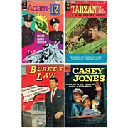 Four TV Adventure Comics, 1958 Casey Jones, 1964 Burke's Law, 1967 Tarzan, and 1974 Adam-12