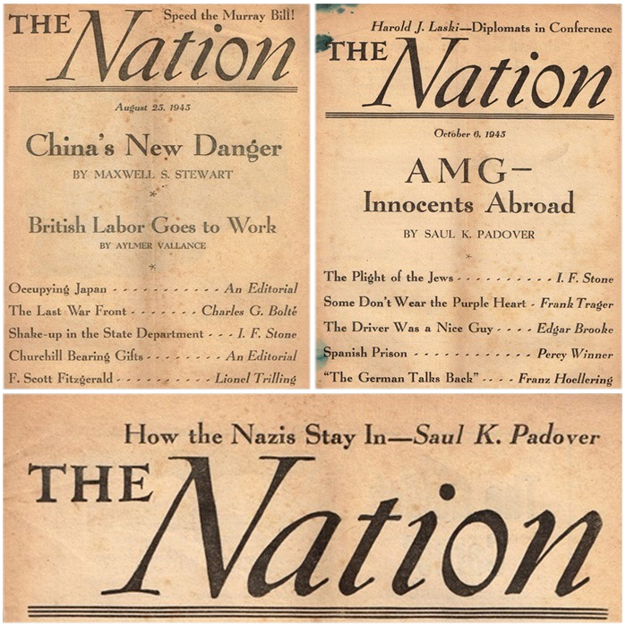 Three Rare 1945 The Nation Liberal Weekly Publications