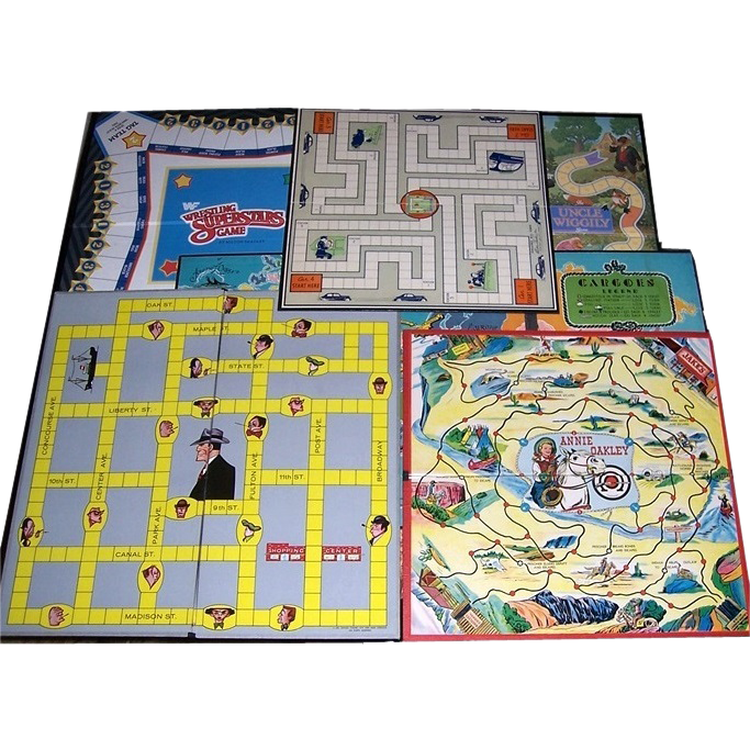 Six Vintage Game Boards from 1934-1988, Dick Tracy, Annie Oakley
