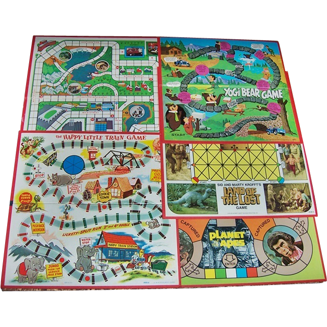 Five 1957-1975 Game Boards, Yogi Bear, Land of The Lost