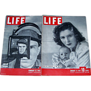 WWII Era Life Magazines, January 1941 & February 1943