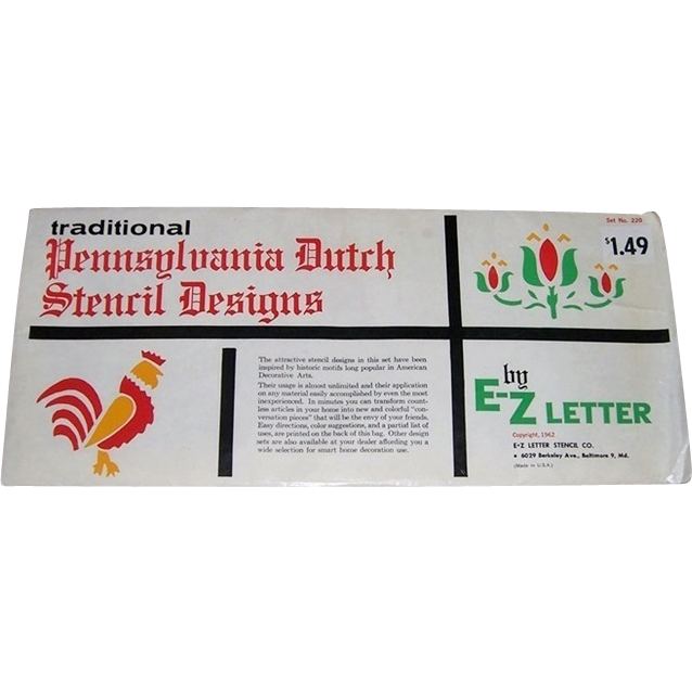 1962 Pennsylvania Dutch Stencils by E-Z Letter Company