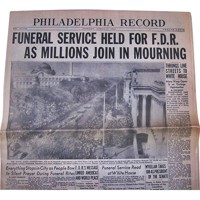 Newspaper on The Funeral Service for Franklin Delano Roosevelt, April 15th,1945