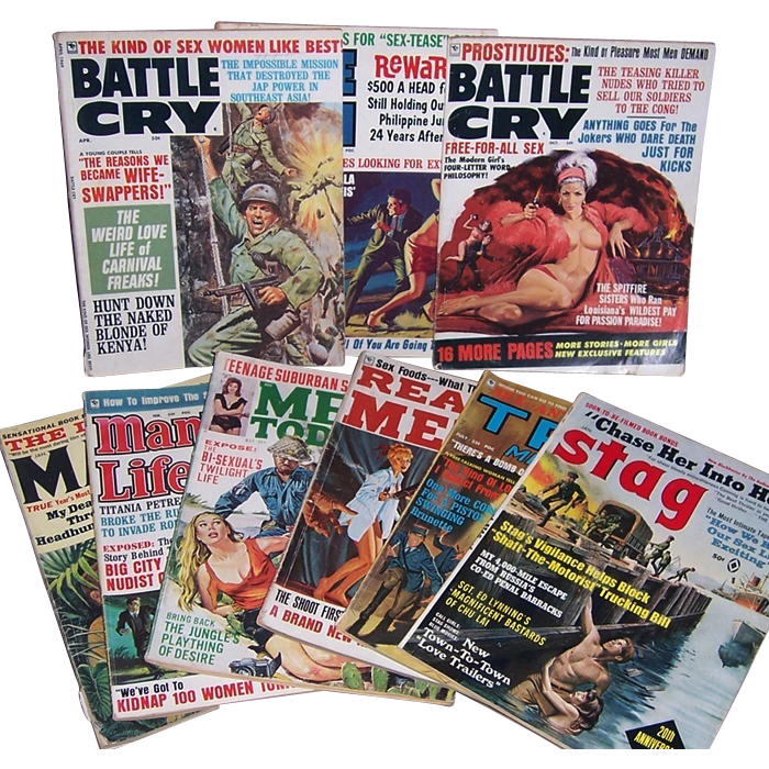 1960's Men's Action Magazines, True, Real Men, Battle Cry & Stag