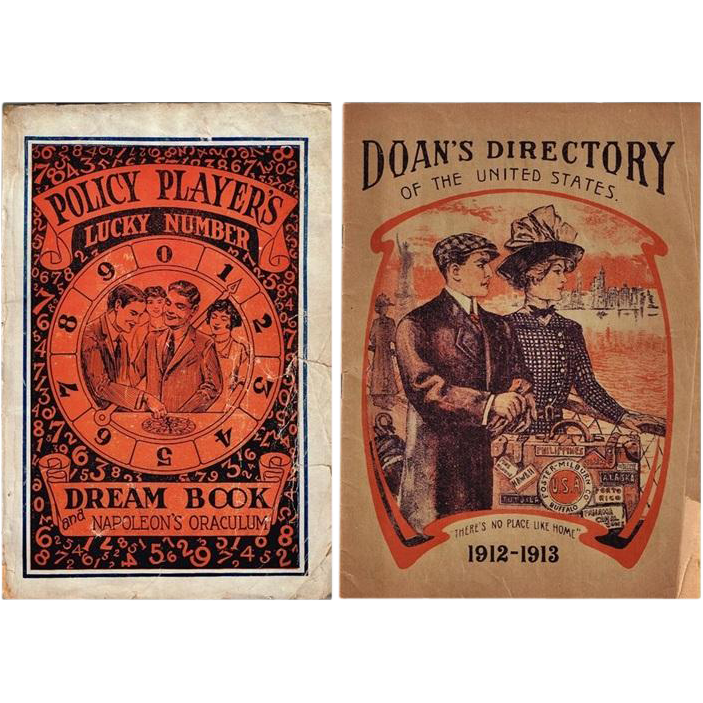 1930's Policy Players Lucky Number Dream Book and Napoleon's Oraculum and 1912-13 Doan's Directory of the United States