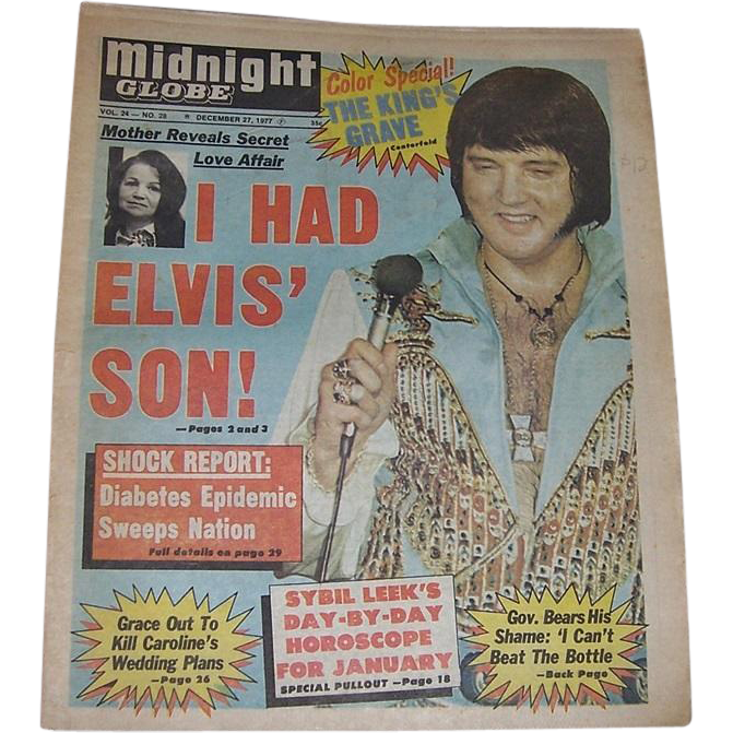Three 1977 Midnight Globe Tabloids Featuring Elvis Presley