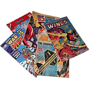 Five War Comics--1953 Wings, 1961/1965 Fightin' Air Force, 1964 U.S. Fighting Men, & 1975 War is Hell Comics
